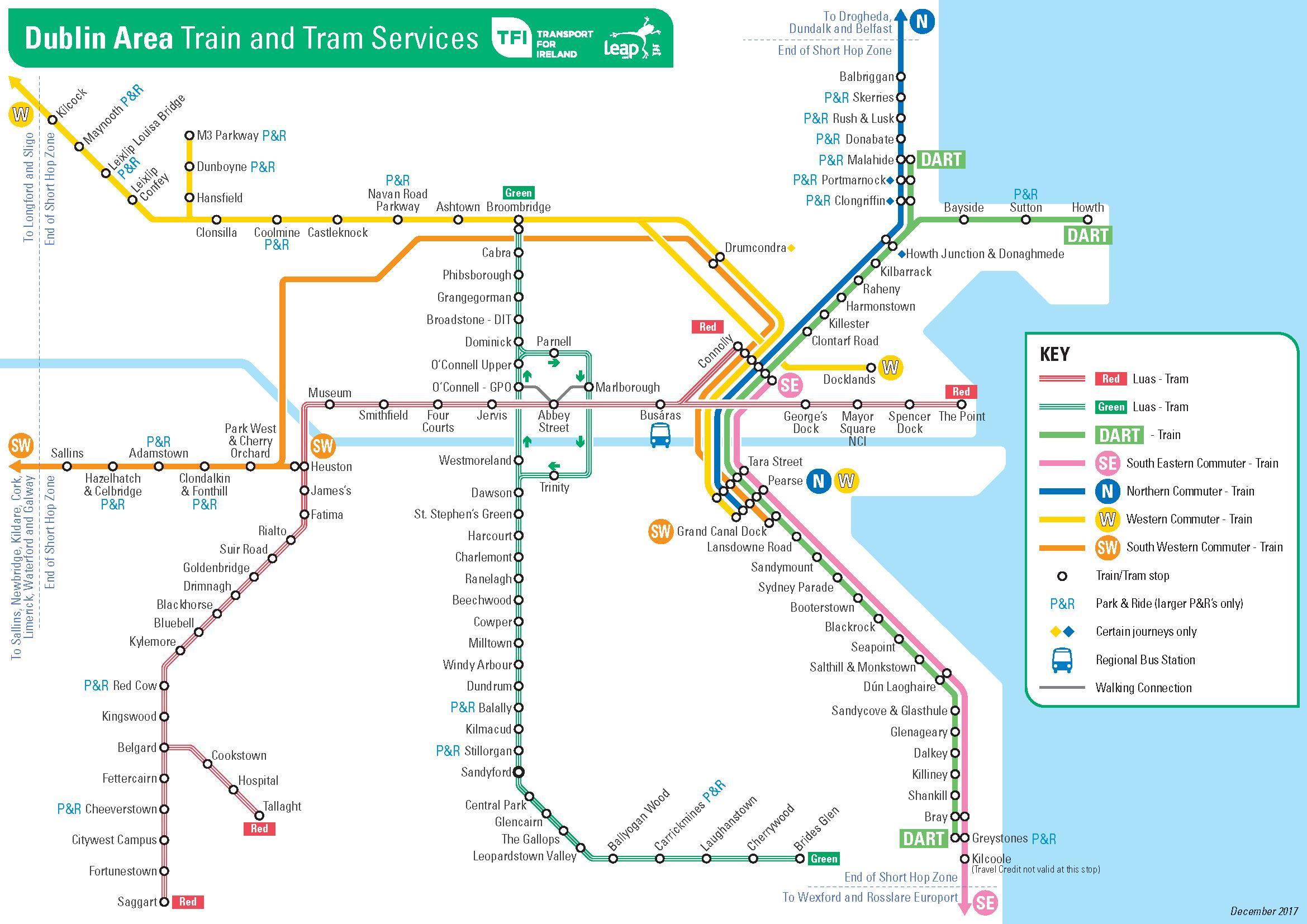 Map Of Dublin Ireland And Surrounding Area.Dart Map Dublin Map Of Dart Stations Dublin Ireland