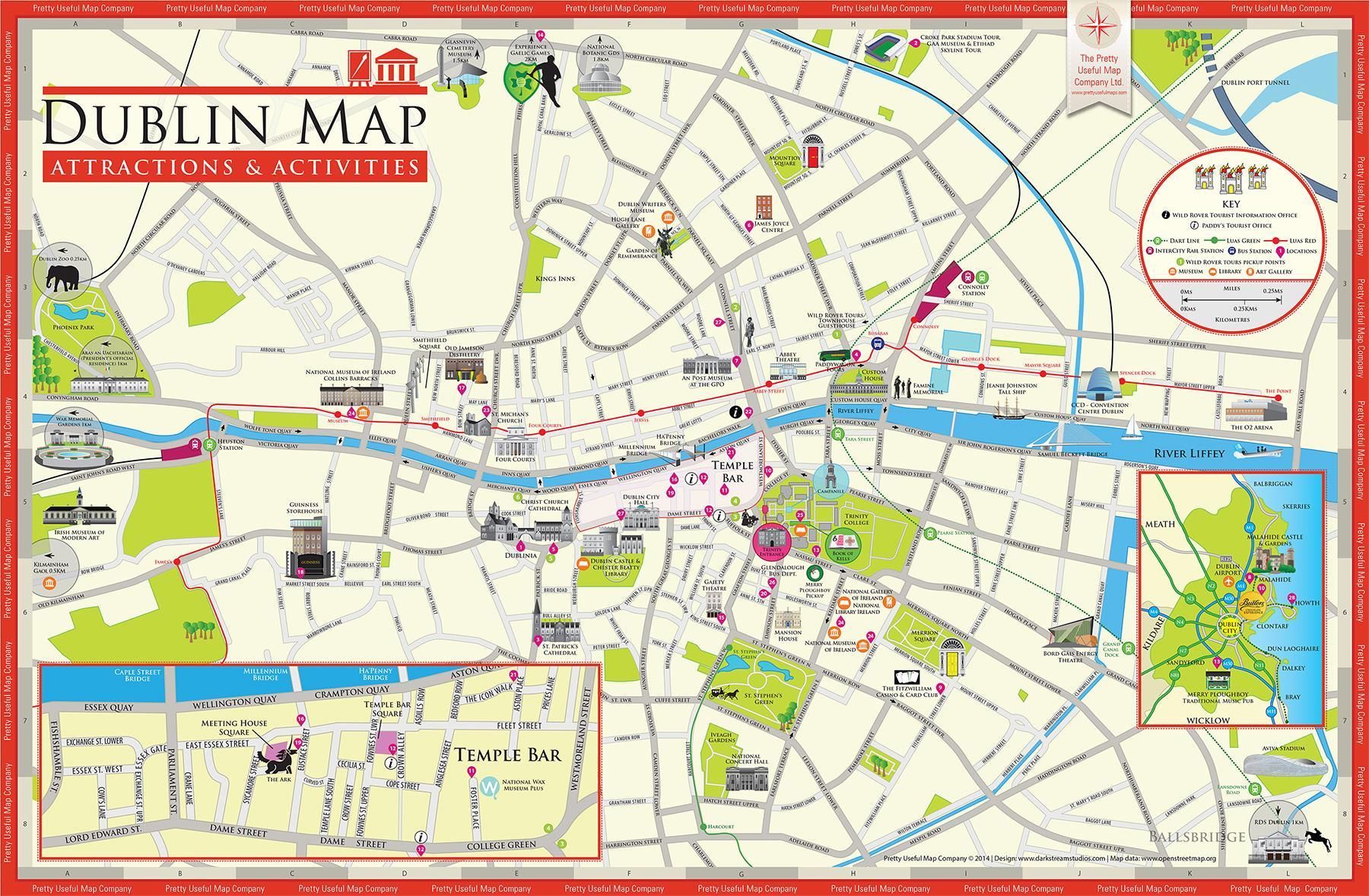 Tourist map Dublin Map of Dublin tourist attractions Ireland