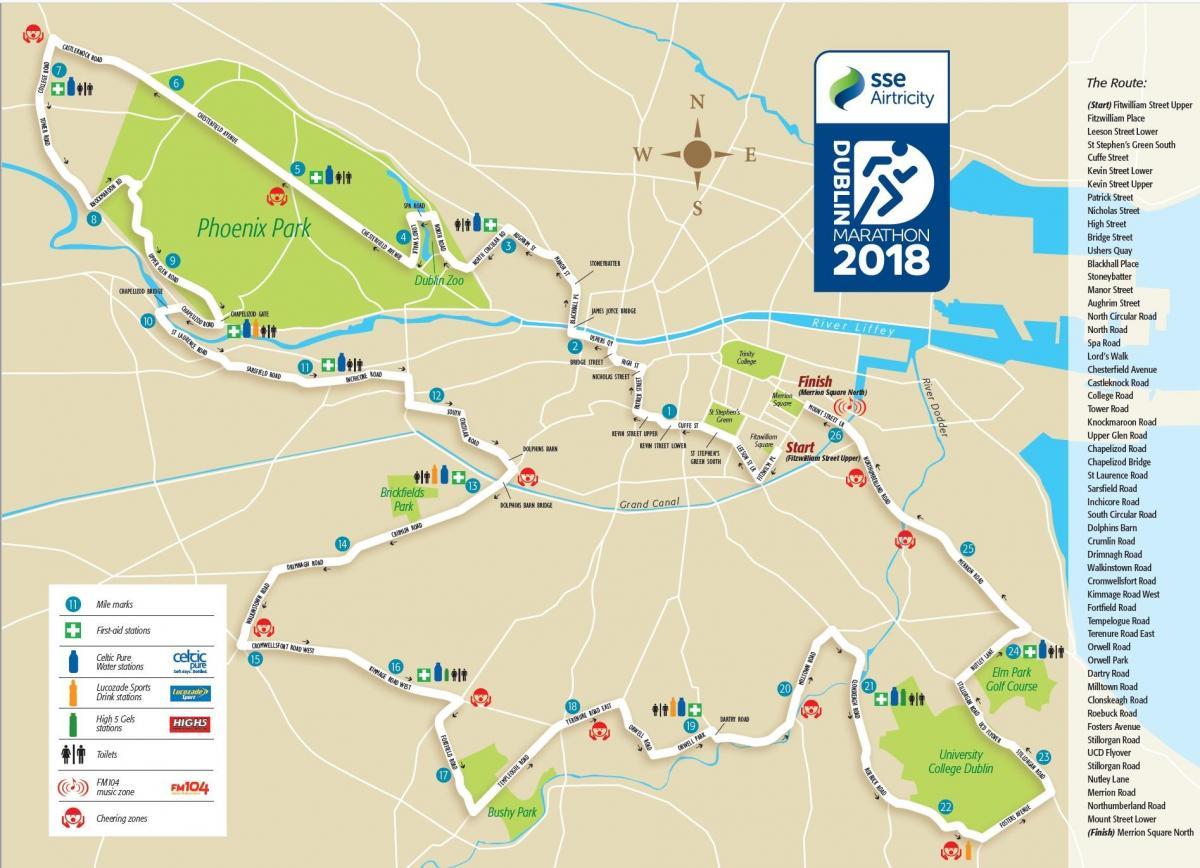 Dublin Marathon Map Dublin City Marathon Route Map Ireland - Chicago marathon map 2016